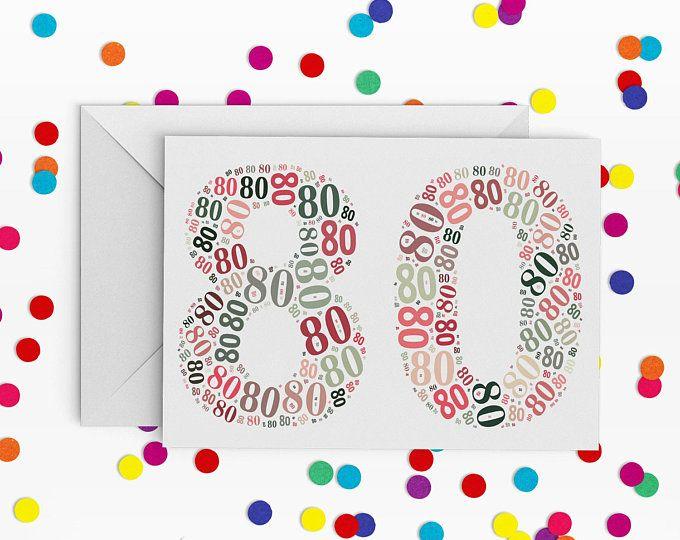 80 Birthday Card,  Number eighty Card, 80th Birthday, Happy Birthday Card, 80th Birthday Card, just a card, milestone birthday, Octogenarian