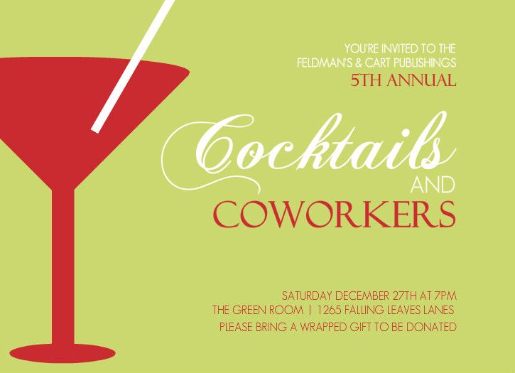 Office Holiday Party Invites - Cocktails and Coworkers! Beautiful - birthday invitation wording no gifts donation