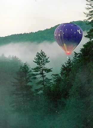 Hot air balloon over Great Smoky Mountains