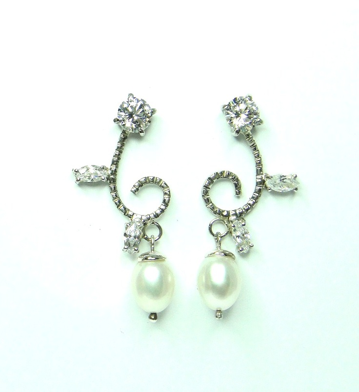 Name: Juanita  Pearls and Cubic Zirconias mounted in silver