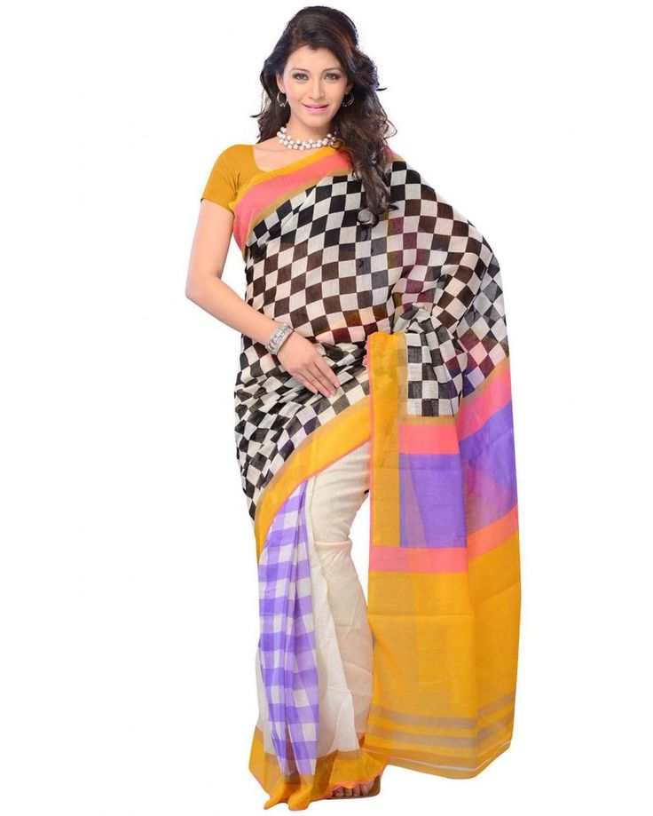 This is a party wear designer saree made from cotton fabric, the saree is crafted in multi color color weaving with geometric shapes printing. Size: 5.5 meter sar