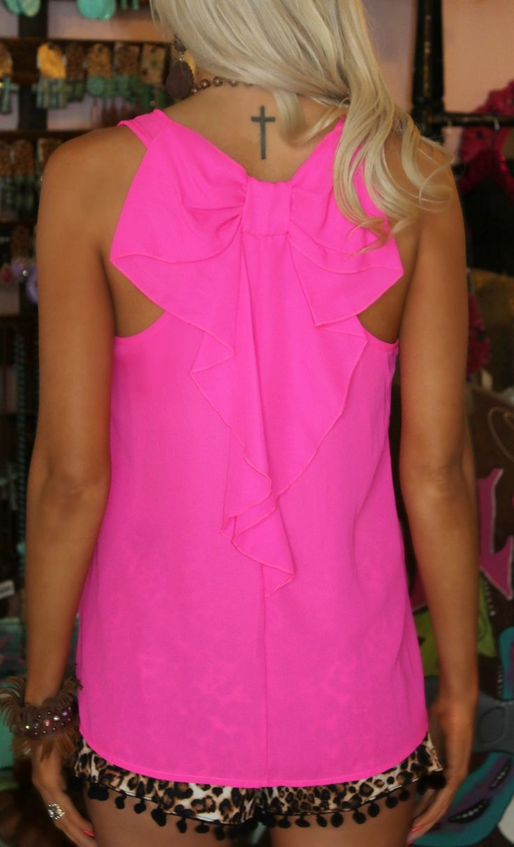 Hot Pink Bow Back Tank - The Lace Cactus