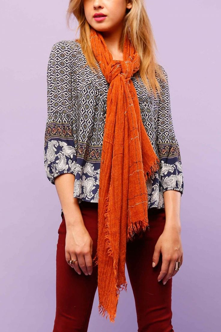 Burnt Orange Scarf with White Thread - Longhorn Fashions