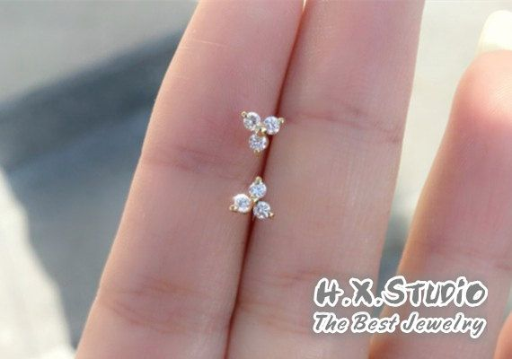 Diamond Cluster (6 diamonds) 18k Gold Stud Earrings, Claw Set Diamonds Stud Earrings, Bride Earrings, Christmas, Gift, Wholesale Available