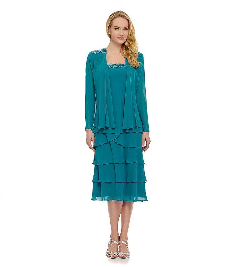 S.L Fashions Beaded Lace Tiered Jacket Dress | Dillards.com