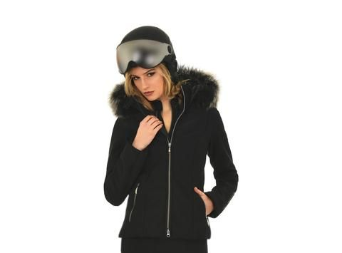 Emmegi Avery Black Ski Jacket with Fur Hood