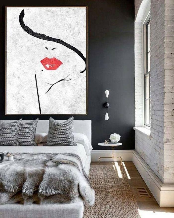 cuadros impresionistas para habitaciones modernas, decoración en blanco gris y beige, cuadros modernos, paredes de ladrillos, cama moderna y funcional