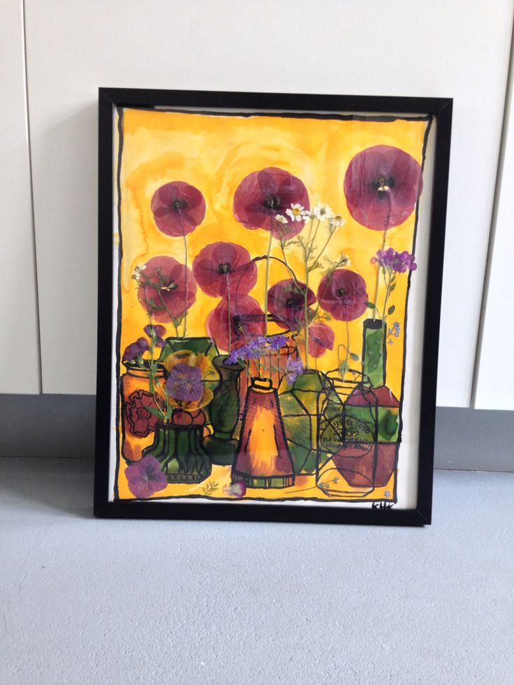 Flowers in ink and ecoline