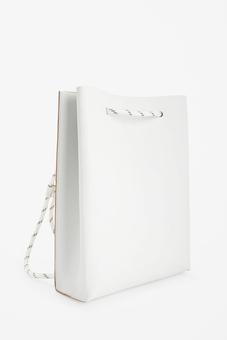 COS image 2 of Structured leather backpack in White