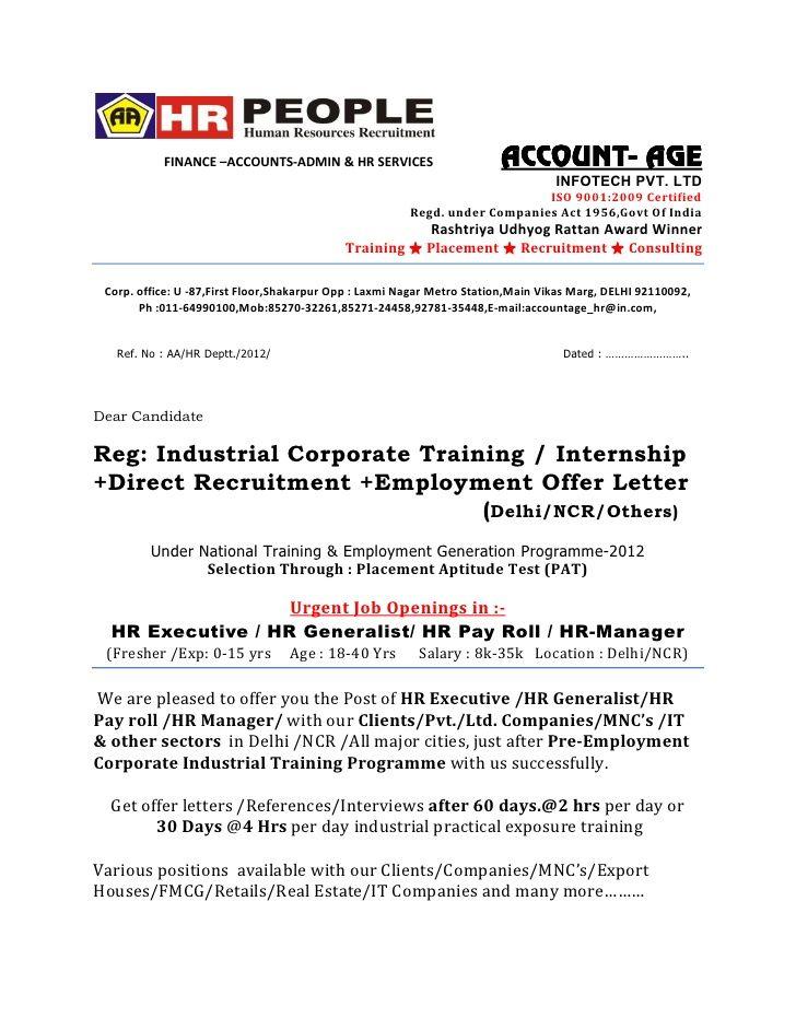 Offer Letter Hr Final Offer Letter Format Legal