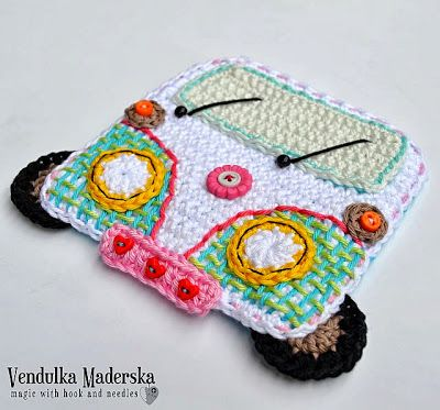 Let the worries behind and go..:-) crochet. Love this 'peace bus', will put it on a bag! So cute