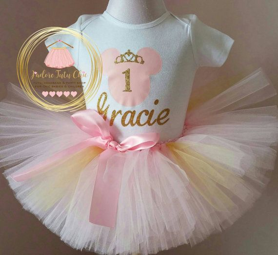 Pink and gold minnie mouse birthday outfit by JAdoreTuTuChic