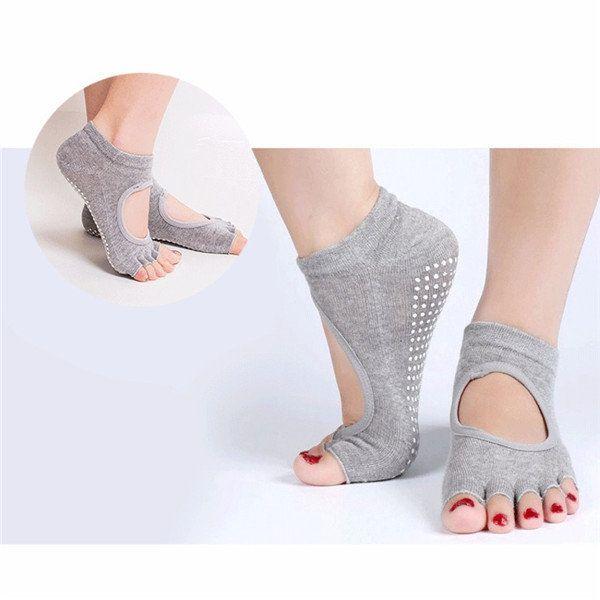 El yoga Deportes Mujeres algodón calcetines Ejercicio Masaje calcetín abiertas del dedo del pie