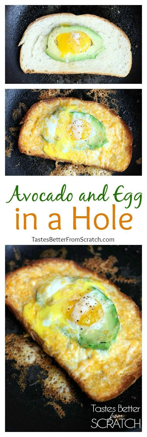 My families FAVORITE easy Breakfast! Avocado and Egg in a Hole from http://TastesBetterFromScratch.com