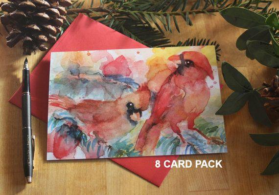 Cardinal Watercolor Christmas Card Set 8 by SycamoreWoodStudio