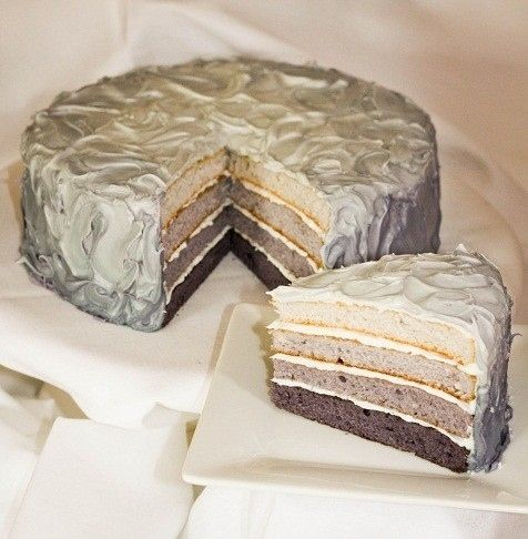 A cake in various shades of gray.
