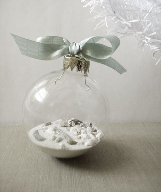 Sand and tiny seashells for a coastal Christmas tree ornament!