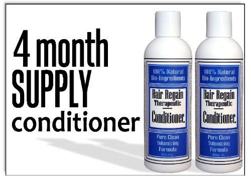 Hair Regain Hair Loss Volumizing Conditioner - 4 Month Supply by Hair Regain Natural Hair Loss System. $16.95. Saw Palmetto and Nettles are the main ingredients in Hair Regain; both are important for hair loss prevention and reversal.. Lather into hair for two minutes for best results.. Non-oily, no scent, no sulfates.. Hair Regain is all natural, with no animal ingredients and is made in the U.S.A.. DHT Blockers work to stop hair loss at the cause, and reverse it's ill effect...