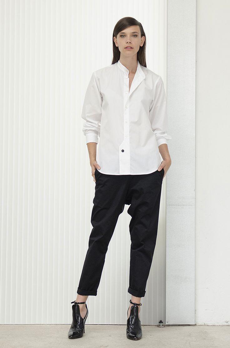 Jaimie/Gus Pant Black, Oneroa Shirt white poplin
