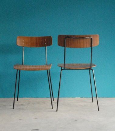 Dick Cordemeijer; Side Chairs for Gispen, 1950s.