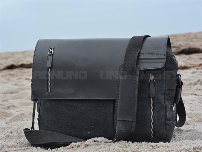 Greenburry Umhängetasche BLACK SAILS Herren schwarz Canvas Leder Notebookfach jetzt online kaufen ✔ OrdnungUndMehr.com