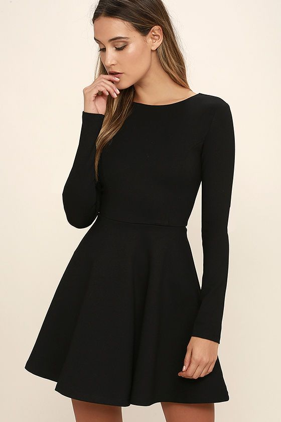 Lulus Exclusive! Just like red lipstick, white tees, and blue jeans, the Forever Chic Black Long Sleeve Dress will always be in style! Medium-weight knit creates a sleek look across a rounded neckline and long fitted sleeves. Princess seams decorate the bodice, and are gracefully joined by the full skater skirt. Hidden back zipper.