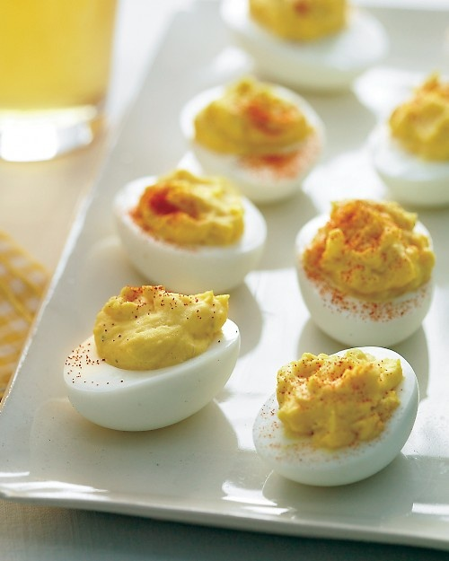 Deviled Eggs. MADE 4/8/2012 - MY recipe, not martha's. miracle whip, yellow mustard, dash of worchestershire sauce, dash of vinegar, sprinkle with paprika. made 12, hubby ate 9 of them. SUCCESS!