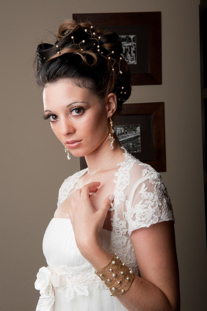 Beautiful Brunette Bride With Long Curly Hair Stock Image