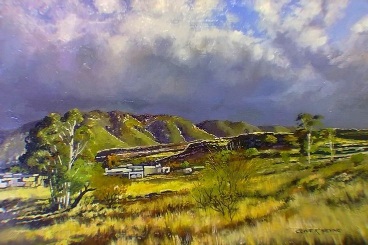 """#23 -"""" Landscape in Prince Albert""""  oils & brush on block mounted board 400 x 600 mm ( 16 x 24 inches) unframed -"""