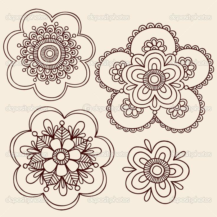 henna patterns | Hand-Drawn Henna Mandala Flowers Paisley Henna Mehndi Paisley Floral ...