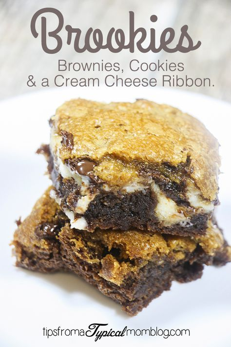 These Dessert Bars are a Brownie and a Cookie with a Cream Cheese Ribbon all in one!