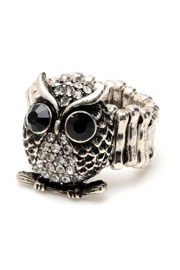 Singh Owl Stretch Ring in Silver