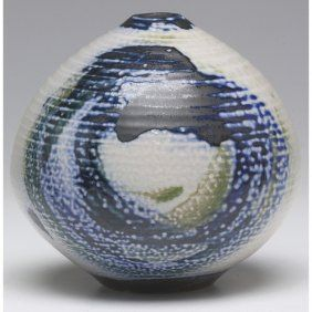 Vivika and Otto Heino vase, bulbous hand-thrown shape with painted designs in blue, black and green against an ivory ground