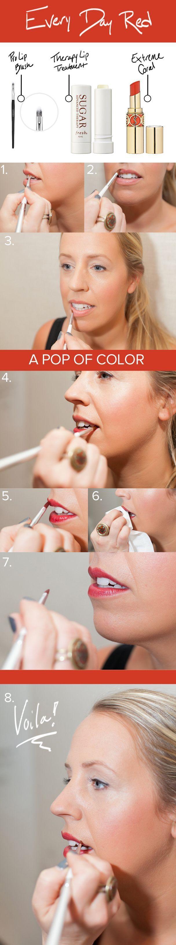 lapetitepeach.com  schminken Tutorial schminken rote Lippen roter Lippenst