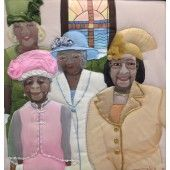 """""""Ladies of Our Lady By the Sea"""" Ronni Harris - Artist Quilted Caribbean Painting on satin.  Unique painting of ladies at church 21"""" X 22""""  $950.00 - See more at: http://gallerystthomas.com/art-medium/acrylic-paintings/ladies-of-our-lady-by-the-sea.html#sthash.sqMRrFpK.dpuf"""