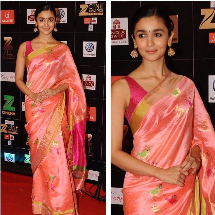 Don't gowns suddenly feel dated? Killing it in her first red carpet sari look. @aliaabhatt in a custom #stylebyamixmadhurya@madhurya_creations earrings from @jaipurgems#catweaves #catlover #badrinathkidulhania#happycolours #chanderi