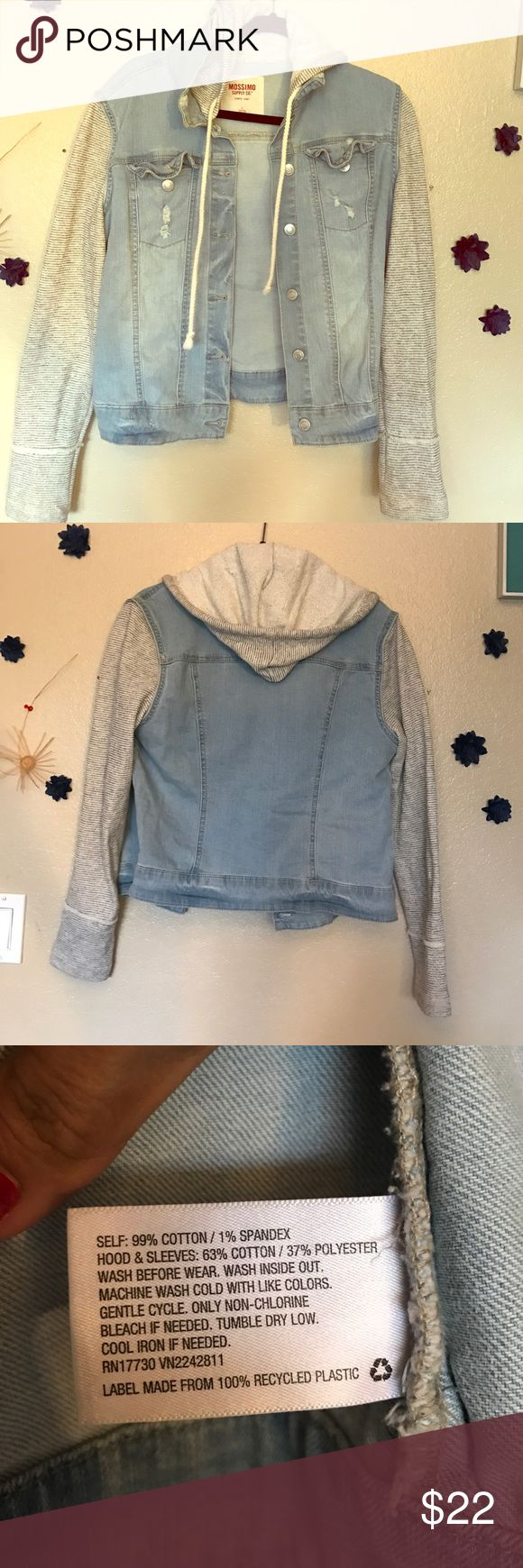 Cute jean jacket Perfect for spring! Sweater material for the arms and hood, jean material for the body. Great condition only wore a couple of times, turns out I'm not a jean jacket kind of girl! I tried though 😂 Mossimo Supply Co Jackets & Coats Jean Jackets