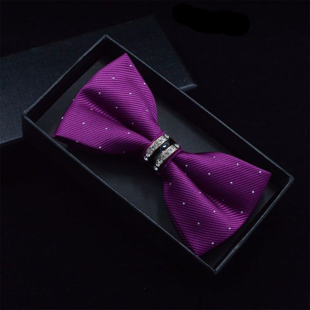 Designer Tuxedo Metal Crystal Bow Tie