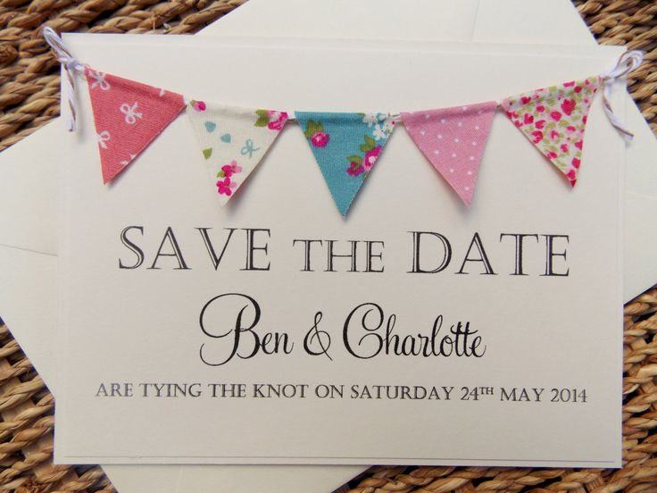 Save The Date Fabric Bunting Wedding Invitation, Country Fete Rustic Summer Wedding Kraft Card by FromLeoniWithLove on Etsy https://www.etsy.com/listing/163495358/save-the-date-fabric-bunting-wedding