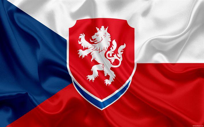 Download wallpapers Czech Republic national football team, emblem, logo, flag, Europe, Czech flag, football, World Cup