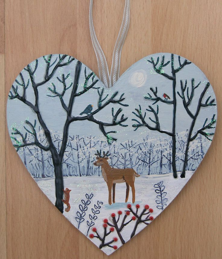 Winter Forest-mixed media on a wooden heart (SOLD)