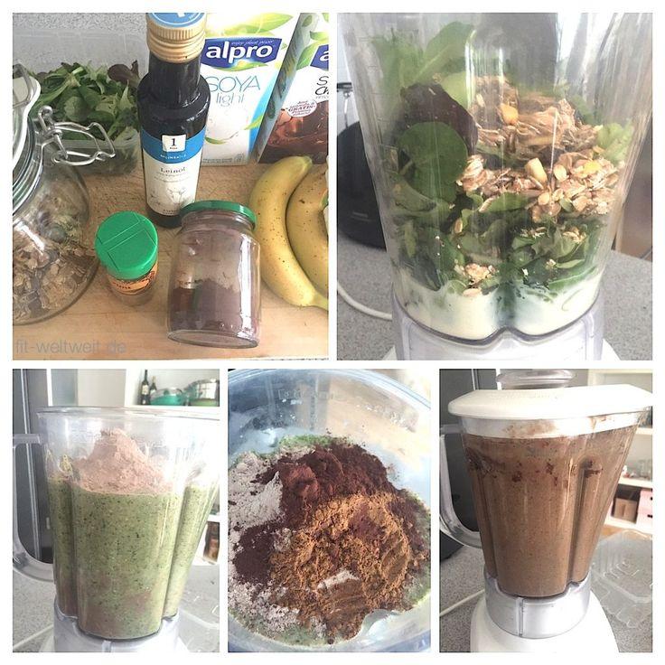 Zutaten des Protein Smoothies: 150ml Alpro Sojamilch Schokolade (gekühlt !) 2 Esslöffel Backkakao 30g Pflück Salat 40g Müsli und zarte Haferflocken ggf. 10 Tropfen Flavdrops weiße Schokolade 1 reife Banane 1 Teelöffel Leinöl (gekühlt !) 1 gehäuften Teelöffel Zimt 100ml normale Sojamilch (gekühlt !) 200ml Wasser (kalt !) Matcha Pulver  Schritte von den Zutaten zum leckeren detox Protein Smoothie.