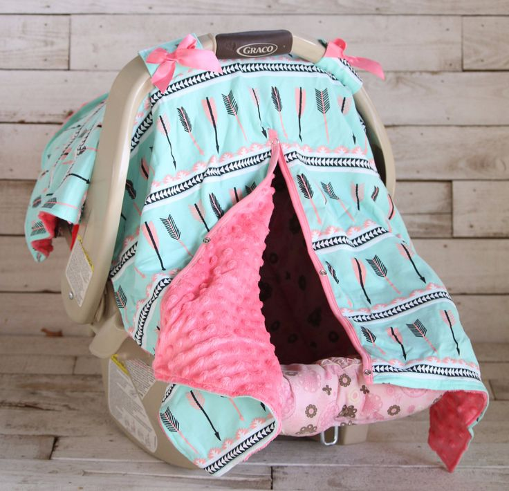 Mint Coral Arrow with Neon Pink Minky Car Seat Canopy   Sparkle in Pink