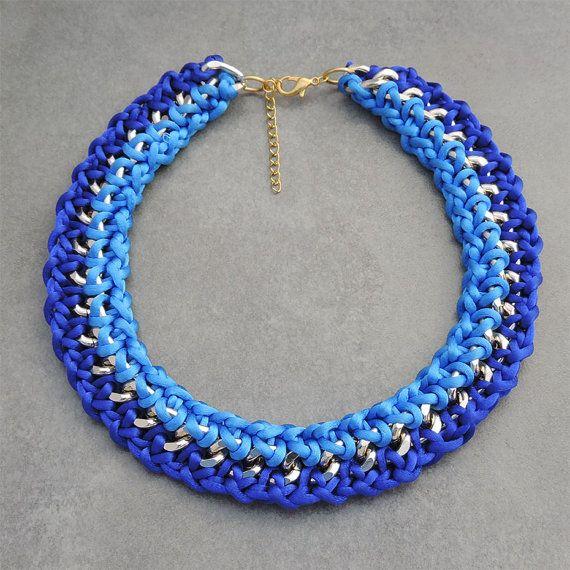 Items similar to Collar dorado con cordones de seda tonalidades en color azules azul electrico y azul klein. Collar ganchillo on Etsy