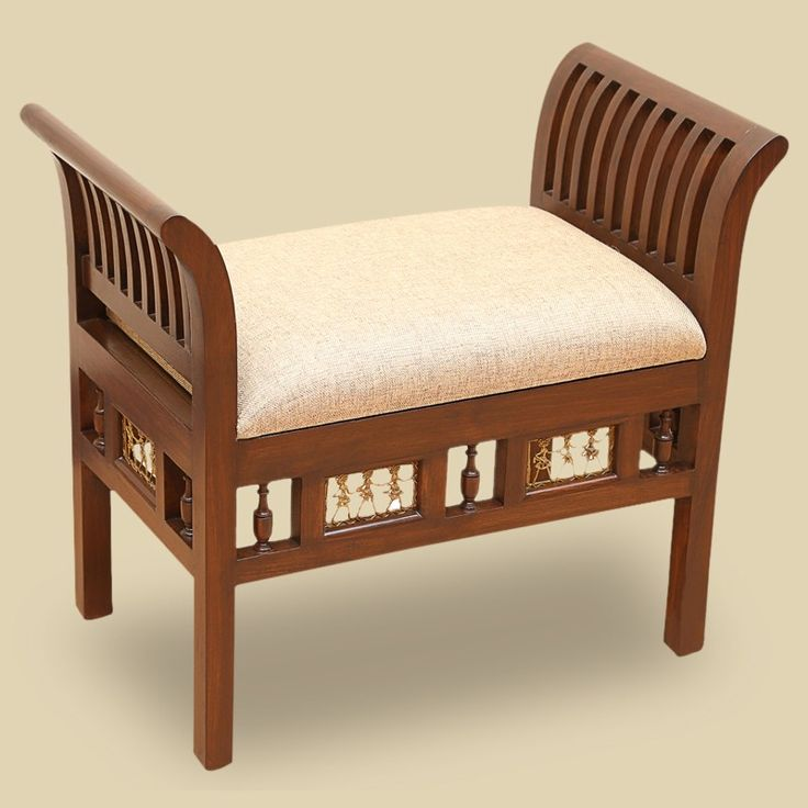 "Teak Wood ""Royal"" Seating Stool With Dhokra Work In Walnut Brown 