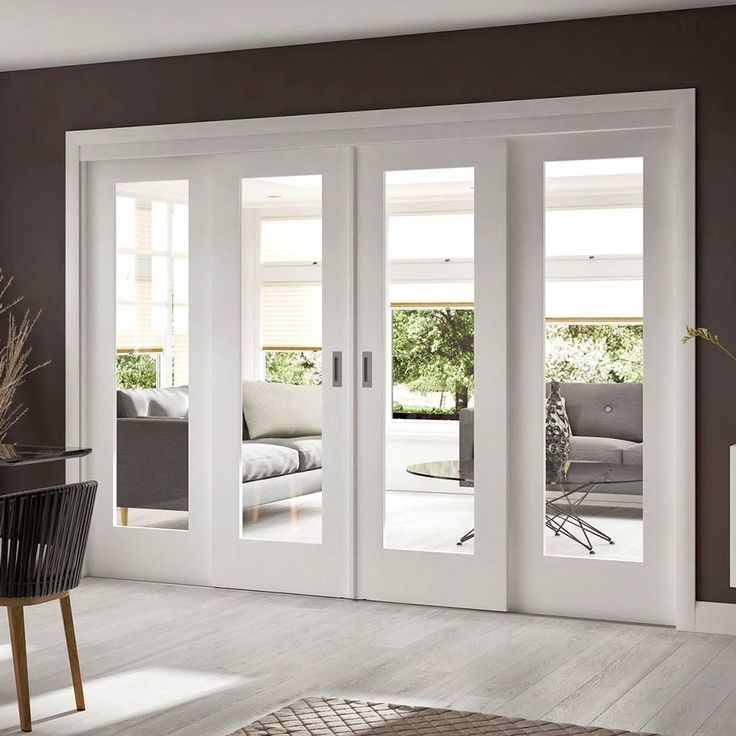 Easi-Slide OP1 White Shaker 1 Pane Sliding Door System in Four Size Widths with Clear Glass - Lifestyle Image