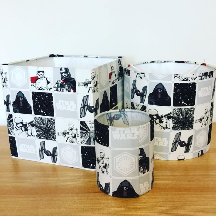 "Handmade Fabric Drum and Square Lampshade ""Star Wars""  Tea light lantern also available by CandCHomecrafts on Etsy"
