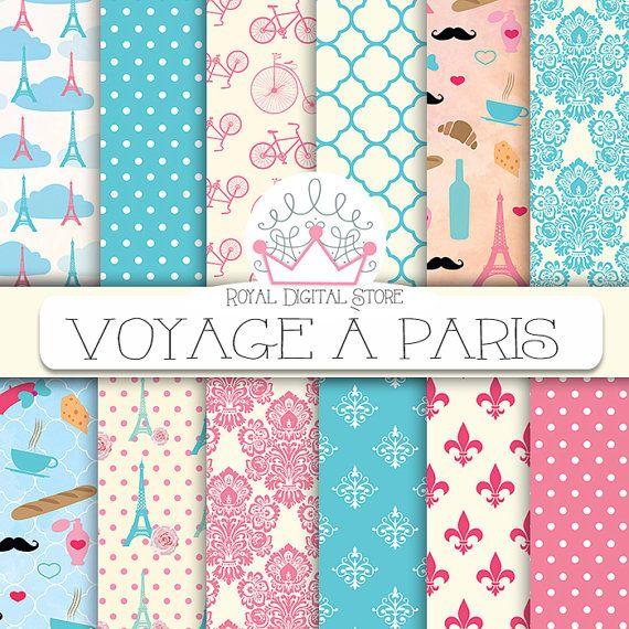 """Paris Digital Paper: """" Voyage A Paris Digital Paper """" with parisian textures, parisian patterns, parisian background in pink, mint, blue"""