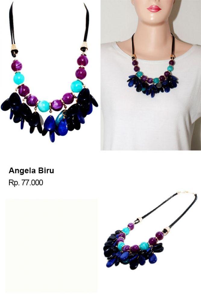 Shvana Kalung Angela Biru - Model : Kalung dengan rangkaian manik bernuansa biruBahan : Manik, Tali hitamPanjang Kalung 58  x 62 CmLebar Kalung 11 Cm  #jualassesories #jualbahanaksesoris #jualankalung #jualkalungmurah #jualfashionwanita