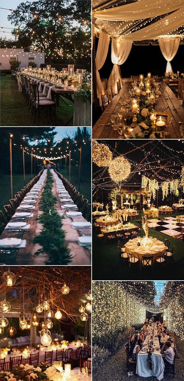 Trending Night Wedding Reception Ideas With Stunning Lights In 2020 Night Wedding Reception Outdoor Night Wedding Outdoor Wedding Decorations